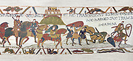 Bayeux Tapestry  Scene 17 - Soldiers get caught in Quicksand near Mont St Michele. BYX17
