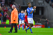 Jamal Lowe of Portsmouth (10) claps the away fans during the EFL Sky Bet League 1 first leg Play Off match between Sunderland and Portsmouth at the Stadium Of Light, Sunderland, England on 11 May 2019.