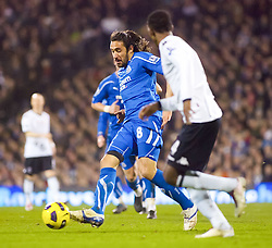02.02.2011, Craven Cottage, London, ENG, PL, Fulham FC vs Newcastle United, im Bild Newcastle United's Jonas Gutierrez breaks throug the Fulham midfield //  during the Premiership match against Fulham FC vs Newcastle United at Graven Cottage, EXPA Pictures © 2011, PhotoCredit: EXPA/ IPS/ M. Greenwood *** ATTENTION *** UK AND FRANCE OUT!