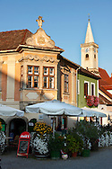 Buildings on the main square, Rust ( Hungarian: Ruszt ) on the Neusiedler See, Burgenland, Austria .<br /> <br /> Visit our AUSTRIA PHOTO COLLECTIONS for more photos to download or buy as wall art prints https://funkystock.photoshelter.com/gallery-collection/Pictures-Images-of-Austria-Photos-of-Austrian-Historic-Landmark-Sites/C0000VRQ9JIAzOxc