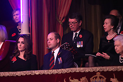The Duke and Duchess of Cambridge, the<br /> Princess Royal and Vice Admiral Sir Tim Laurence, during the annual Royal British Legion Festival of Remembrance at the Royal Albert Hall in London, which commemorates and honours all those who have lost their lives in conflicts.