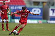 Dan Jones of the Scarlets kicks a penalty in the 2nd half. European rugby Champions cup match, pool 3, Scarlets  v Saracens at the Parc y Scarlets in Llanelli, West Wales on Sunday 15th January 2017.<br /> pic by  Andrew Orchard, Andrew Orchard sports photography.
