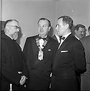 20/01/1962.01/20/1962.20 January 1962.Rochestown College Cork (Dublin Branch) Past Pupils Union annual dinner. The Annual Dinner of the Rochestown College Cork , P.P.U. (Dublin Branch), took place at Power's Hotel, Dublin..Picture shows (L-R): Rev. Fr. Conrad, O.F.M. Capuchin, Provincial; Donnachad O'Suilleabhain, President of the P.P.U. and Secretary of Gaelic Leauge and Mr. Vincent Fannin, Chairman of the Dublin Branch of the Union, chatting prior to the dinner.