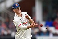 Ben Allison of Essex nearly hits a butterfly as he throws the ball  during the Specsavers County Champ Div 1 match between Somerset County Cricket Club and Essex County Cricket Club at the Cooper Associates County Ground, Taunton, United Kingdom on 23 September 2019.