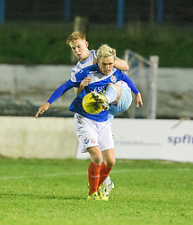 Forfar Athletic's Michael Kennedy  and Cowdenbeath's Dean Brett. Cowdenbeath 3 v 4 Forfar Athletic, Scottish Football League Division Two game played 17/12/2016 at Central Park.