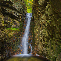 This fall I returned to New Hampshire, just short of the White Mountains, to visit the Castle in the Clouds Conservation area. Brook walk offers easy access to 7 named New Hampshire waterfalls and plenty of cascades. The final waterfall is Fall of Song. Here Shannon Brooks breathtakingly drops 40 feet into a a little pool. <br />