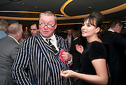 FERGUS HENDERSON; GIZZI ERSKINE, The French Laundry reception to celebrate the October opening of the 10-day pop-up ' French laundry restaurant in Harrods. The Penthouse, Harrods. London. 31 August 2011.<br /> <br />  , -DO NOT ARCHIVE-© Copyright Photograph by Dafydd Jones. 248 Clapham Rd. London SW9 0PZ. Tel 0207 820 0771. www.dafjones.com.