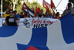 July 26, 2018 - Madrid, Madrid, Spain - People pictured during the celebration of the Cuban Revolution's anniversary in Madrid. (Credit Image: © Jorge Sanz/Pacific Press via ZUMA Wire)