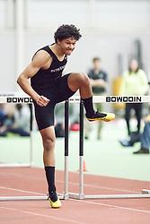 Bowdoin Indoor 4-way track meet: 60m high hurdles, Parker Hayes, Bowdoin