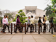 05 APRIL 2012 - HANOI, VIETNAM:   People wait in line to get into the Ho Chi Minh Museum in Hanoi, the capital of Vietnam. Ho Chi Minh is revered as the founder of modern Vietnam.    PHOTO BY JACK KURTZ