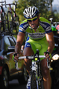 France, October 10 2010: A LIQUIGAS-DOIMO (LIQ) rider on the Côte de l'Epan during the 2010 Paris Tours cycle race.  Copyright 2010 Peter Horrell