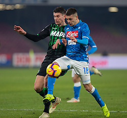 January 13, 2019 - Naples, Campania, Italy - Gianluca Gaetano (R) of SSC Napoli and Magnani (L) of Sassuolo are seen in action during the Serie A football match between SSC Napoli vs US Sassuolo at San Paolo Stadium. (Credit Image: © Ernesto Vicinanza/SOPA Images via ZUMA Wire)