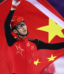 PYEONGCHANG, Feb. 22, 2018  Wu Dajing (L) of China celebrates victory after men's 500m final of short track speed skating at the 2018 PyeongChang Winter Olympic Games at Gangneung Ice Arena, Gangneung, South Korea, Feb. 22, 2018. Wu Dajing claimed gold medal in a time of 0:39.584 and set new world record. (Credit Image: © Han Yan/Xinhua via ZUMA Wire)