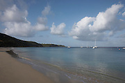 Anguilla, British West Indies -  Early morning view of yachts anchored in Crocus Bay on the north coast of the island.