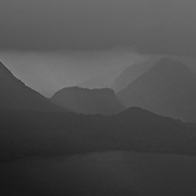 Mystic scenery at a mountain lake.