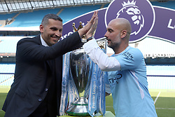 File photo dated 06-05-2018 of Manchester City manager Pep Guardiola with chairman Khaldoon Al Mubarak.
