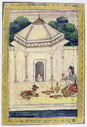 Album of Ragamala. Young woman prays at the shrine of Shiva.  As chief Hindu god  and creator Shiva is represented by the lingam (Phalus).  19th century Indian miniature, Rajasthan School.  Religion
