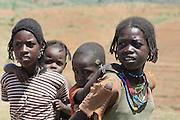 Africa, Ethiopia, Lalibela, 4 young children on the road side