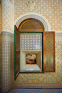 Berber Zellige decorative tiles inside the Riad of the Kasbah Telouet, Atlas Mountains, Morocco. .<br /> <br /> Visit our MOROCCO HISTORIC PLAXES PHOTO COLLECTIONS for more   photos  to download or buy as prints https://funkystock.photoshelter.com/gallery-collection/Morocco-Pictures-Photos-and-Images/C0000ds6t1_cvhPo<br /> .<br /> <br /> Visit our ISLAMIC HISTORICAL PLACES PHOTO COLLECTIONS for more photos to download or buy as wall art prints https://funkystock.photoshelter.com/gallery-collection/Islam-Islamic-Historic-Places-Architecture-Pictures-Images-of/C0000n7SGOHt9XWI