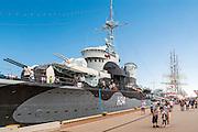 Gdynia, (woj. pomorskie) 19.07.2016. ORP Błyskawica - okręt muzeum zakotwiczony przy Nabrzeżu Pomorskim w Gdyni.