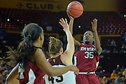 March 18, 2016; Tempe, Ariz;  New Mexico State Aggies guard Moriah Mack (35) shoots over Arizona State Sun Devils guard Eliza Normen (43) during a game between No. 2 Arizona State Sun Devils and No. 15 New Mexico State Aggies in the first round of the 2016 NCAA Division I Women's Basketball Championship in Tempe, Ariz. The Sun Devils defeated the Aggies 74-52.