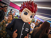 24 JULY 2013 - BANGKOK, THAILAND: A mascot for Gatsby, a Thai company that makes men's grooming products, at the Hairworld Festival in Siam Paragon, an upscale shopping mall in Bangkok, Thailand.        PHOTO BY JACK KURTZ
