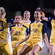 UC Irvine celebrates after defeating Cal State - Fullerton During the Big West Tournament  on George Allen Field on the campus of Cal State Long Beach Thursday, November 3, 2016<br /> <br /> <br /> Photo by Annette Wilkerson/SportsShooterAcademy