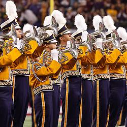 Jan 7, 2011; Arlington, TX, USA; The LSU Tigers band performs prior to kickoff of the 2011 Cotton Bowl against the Texas A&M Aggies at Cowboys Stadium.  Mandatory Credit: Derick E. Hingle