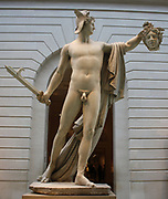 Perseus with the head of Medusa.  Marble.  Antonio Canova (1757-1822) Born in Possagno, active in Venice and especially Rome;  this marble carved in Rome, 1804-6.