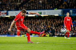 Steven Gerrard of Liverpool shoots during extra time - Photo mandatory by-line: Rogan Thomson/JMP - 07966 386802 - 27/01/2015 - SPORT - FOOTBALL - London, England - Stamford Bridge - Chelsea v Liverpool - Capital One Cup Semi-Final Second Leg.