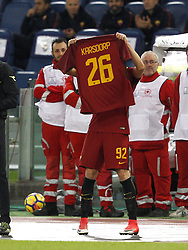 October 28, 2017 - Rome, Italy - Roma s Stephan El Shaarawy holds up the jersey of his injured teammate Rick Karsdorp after scoring the winning goal during the Serie A soccer match between Roma and Bologna at the Olympic stadium. (Credit Image: © Riccardo De Luca/Pacific Press via ZUMA Wire)