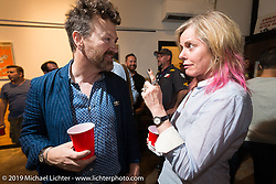 Paul D'Orleans and Susan McLaughlin at the Pre-party for the Handbuilt Motorcycle Show at Revival Cycles. Austin, TX. April 9, 2015.  Photography ©2015 Michael Lichter.