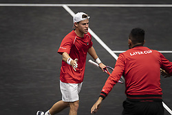 September 21, 2018 - Chicago, Illinois, U.S - DIEGO SCHWARTZMAN of Argentina celebrates with teammates on Team World's bench during the third singles match on Day One of the Laver Cup at the United Center in Chicago, Illinois. (Credit Image: © Shelley Lipton/ZUMA Wire)