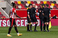 Brentford Manager Thomas Frank  and the officials at Beth final whistle of the EFL Sky Bet Championship match between Brentford and Watford at Brentford Community Stadium, Brentford, England on 1 May 2021.
