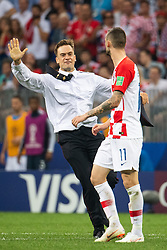 July 15, 2018 - Moscow, Russia - 180715 Marcelo Brozovic of Croatia in a situation with a man who has run on to the pitch during the FIFA World Cup final match between France and Croatia on July 15, 2018 in Moscow..Photo: Petter Arvidson / BILDBYRÃ…N / kod PA / 92087 (Credit Image: © Petter Arvidson/Bildbyran via ZUMA Press)