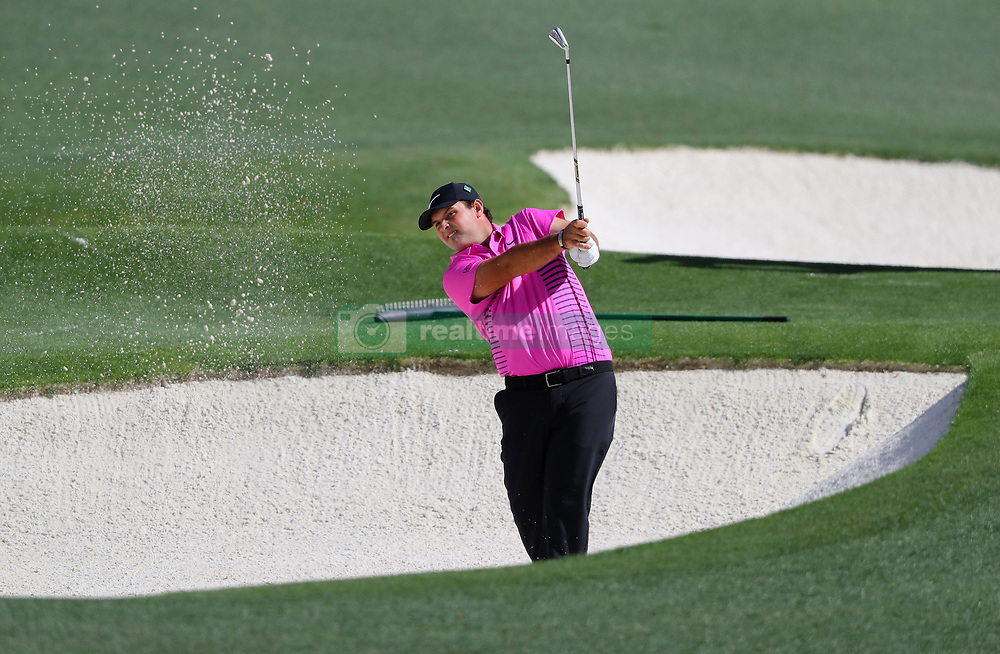 April 8, 2018 - Augusta, GA, USA - Patrick Reed hits out of the fairway bunker on eight during the final round of the Masters at Augusta National Golf Club on Sunday, April 8, 2018, in Augusta, Ga. (Credit Image: © Curtis Compton/TNS via ZUMA Wire)