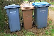 Three bins for sorted domestic waste, Shottisham, Suffolk, England, UK
