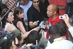 May 20th, 2006. New Orleans, Louisiana. Mayor Ray Nagin is surrounded by the media at  the polls in what is likely to be a closely fought race for the Mayor of New Orleans. The Mayor and his family arrived at Jesuit High School to cast their ballots in the historic Mayoral race.<br /> Photo; Charlie Varley/varleypix.com