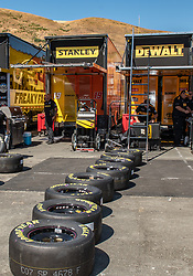 June 22, 2018 - Sonoma, CA, U.S. - SONOMA, CA - JUNE 22:  Fresh Goodyear tires are layed out for the pit crews on Friday, June 22, 2018 at the Toyota/Save Mart 350 Practice day at Sonoma Raceway, Sonoma, CA (Photo by Douglas Stringer/Icon Sportswire) (Credit Image: © Douglas Stringer/Icon SMI via ZUMA Press)