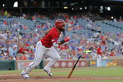 May 25, 2018 - Arlington, TX, USA - Texas Rangers second baseman Rougned Odor (12) hits a  second inning double as the Kansas City Royals play the Texas Rangers at Globe Life Park in Arlington, Texas, Friday, May 25, 2018. (Credit Image: © Rodger Mallison/TNS via ZUMA Wire)