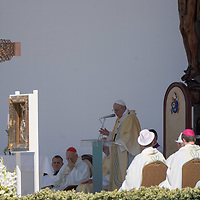 Pope Francis celebrates mass for the closing of the International Eucharistic Congress held on Heroes Square in Budapest, Hungary on Sept. 12, 2021. ATTILA VOLGYI