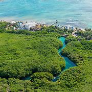 Aerial of the Tulum coastline. Riviera Maya, Mexico.