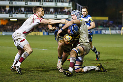 Bath Number 8 Leroy Houston drives for the tryline as Scrum-Half Dwayne Peel and Flanker Michael Paterson tackle - Photo mandatory by-line: Rogan Thomson/JMP - 07966 386802 - 28/03/2014 - SPORT - RUGBY UNION - The Recreation Ground, Bath - Bath Rugby v Sale Sharks - Aviva Premiership.