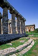 ITALY, GREEK CULTURE, Paestum, Greek Colony fd. in 6cBC Basilica, archaic Doric temple and Neptune Temple 5cBC, Doric, beyond