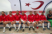 Northern Cyprus team mates. Karpatalya (RED) beat Northern Cyprus (WHITE) 3 -2 in penalties during the Conifa Paddy Power World Football Cup finals on the 9th June 2018 at Queen Elizabeth II Stadium in Enfield Town in the United Kingdom. Team mates from the Turkish Republic of Northern Cyprus  take on the Hungarians in Ukraine for the CONIFA World Football Cup final. CONIFA is an international football tournament organised by CONIFA, an umbrella association for states, minorities, stateless peoples and regions unaffiliated with FIFA. (photo by Sam Mellish / In Pictures via Getty Images)