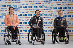 March 3, 2019 - Tokyo, Tokyo, Japan - Second-placed Mcfadden Tatyana (L) of USA and third-placed Scaroni Susannah (R) of USA wave with first-placed Schar Manuela (C) of SUI as they pose for photographers during the awards ceremony for the wheelchair Tokyo Marathon in Tokyo on March 3, 2019. (Credit Image: © Alessandro Di Ciommo/NurPhoto via ZUMA Press)