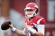 FAYETTEVILLE, AR - OCTOBER 24:  Austin Allen #8 of the Arkansas Razorbacks warming up before a game against the Auburn Tigers at Razorback Stadium on October 24, 2015 in Fayetteville, Arkansas.  The Razorbacks defeated the Tigers in 4 OT's 54-46.  (Photo by Wesley Hitt/Getty Images) *** Local Caption *** Austin Allen