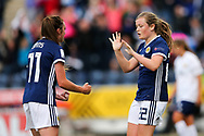 Erin Cuthbert (#22) of Scotland celebrates scoring Scotland's second goal (2-1) with Lisa Evans (#11) of Scotland during the FIFA Women's World Cup UEFA Qualifier match between Scotland Women and Belarus Women at Falkirk Stadium, Falkirk, Scotland on 7 June 2018. Picture by Craig Doyle.