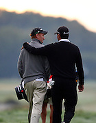 Richard Lee (L) and Bradley Iles from New Zealand walk down the 10th fairway after teeing off during Round ONe of the NZPGA. Round One, HSBC New Zealand PGA Golf Championship. Clearwater Golf Resort, Christchurch, New Zealand. Thursday 5th March 2009. Copyright Photo: www.photosport.co.nz