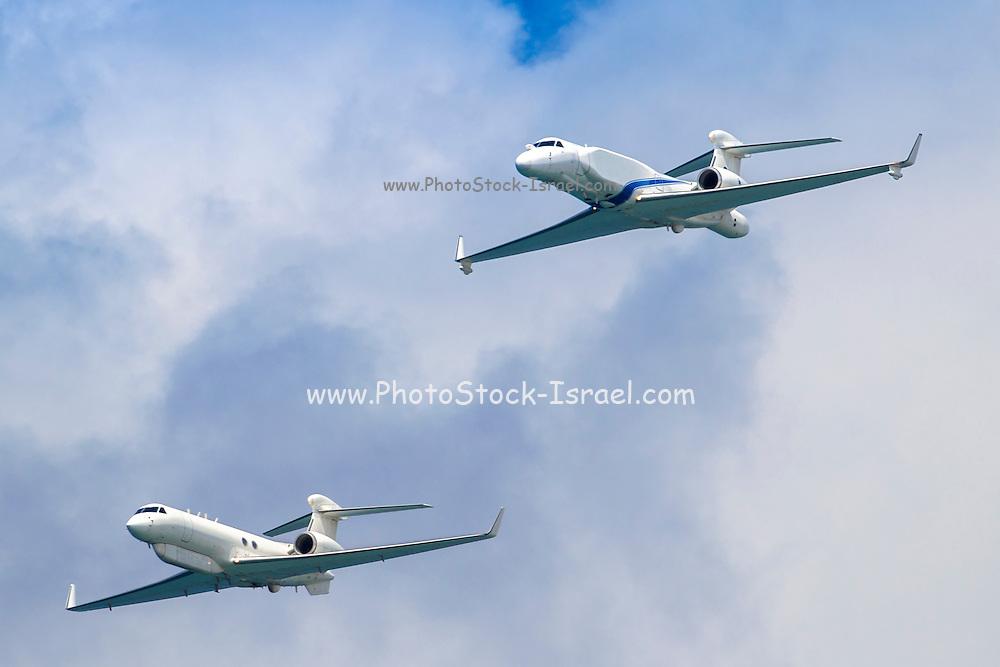 Israeli Air Force (IAF) Gulfstream G550 business jet aircraft produced by General Dynamics' Gulfstream Aerospace unit